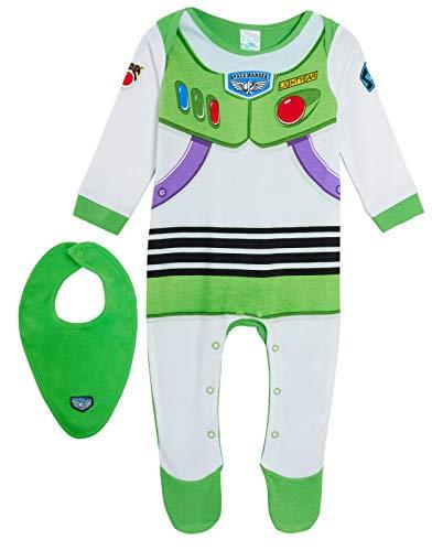 Disney Baby Boys Toy Story 4 Buzz Lightyear Babygrow + Bandanna 0-3 Months Green/White