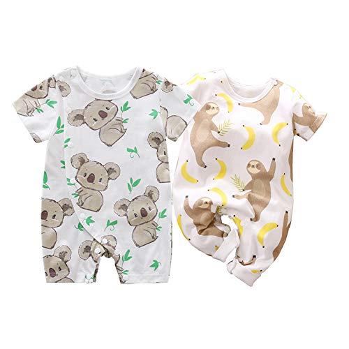 IURNXB 2-Pack Baby Boys Girls Rompers Cute Newborn Toddler Cotton Infant Onesie Cartoon Cute Clothes