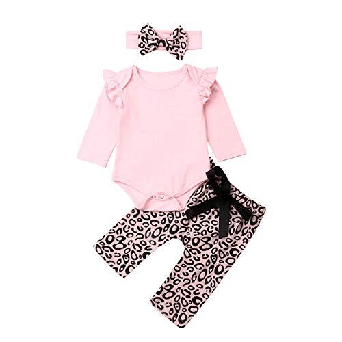 3PCS Infant Baby Girl Leopard Outfits Flying Sleeve Romper Bodysuit+Harem Pants+Headband Clothes Set (Pink Leopard, 12-18 Months)