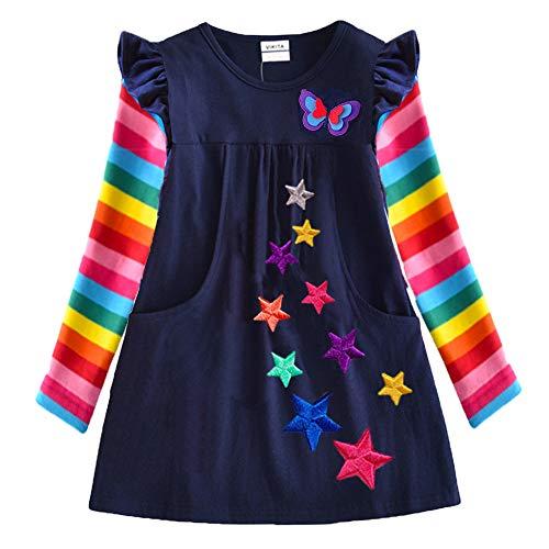 VIKITA Girls Dress Rainbow Long Sleeve Cotton Embroidery Star Age 1-8 Years Lh5808 3T