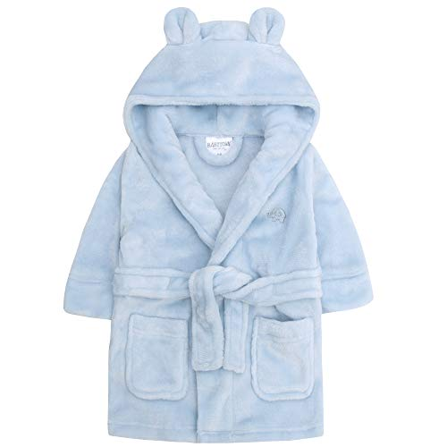 Baby Boys & Girls Unisex Dressing Gown (Ages 6-24 Months) Soft Plush Flannel Fleece Hooded Bath Robe, Blue, 6 – 12 Months