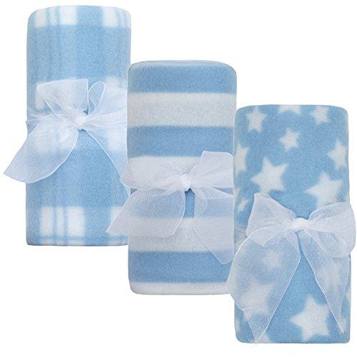 QT Newborn Baby Boys and Girls Fleece Comforter 3-Pack Multi-Purpose Blankets75cm x 75cm3-pack Blue