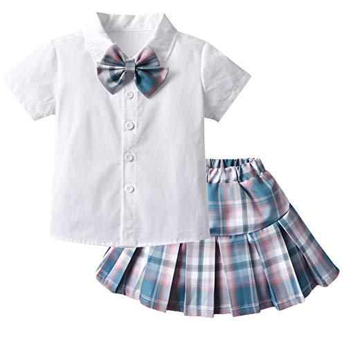 Baby Girl Outfit Long Sleeve Plain White Doll Collar Bow Tie Tops+ Plaid Mini Skirt 2Pcs Uniform Clothes Set