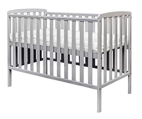 Kinder Valley Havana Solid Pine Wood Slatted 3 Position Height Baby Cot Grey 120x60cm with Kinder Flow Mattress